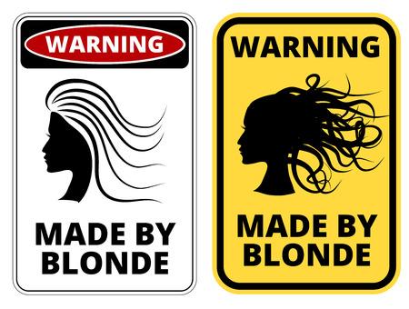 해학적 인: Blonde at work joke humorous Sign. Vector EPS 8 Set