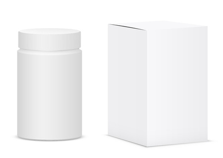 placebo: White medical bottle container on white background. Vector illustration