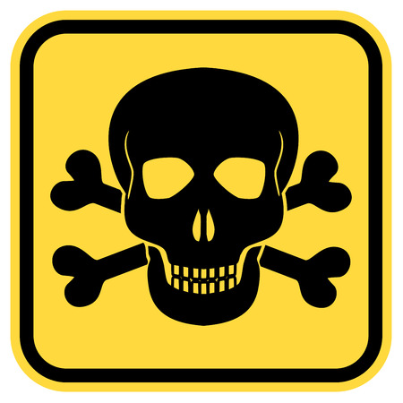 deadly danger sign: Vector warning yellow road sign with skull and crossed bones - symbols of lethal danger, EPS8