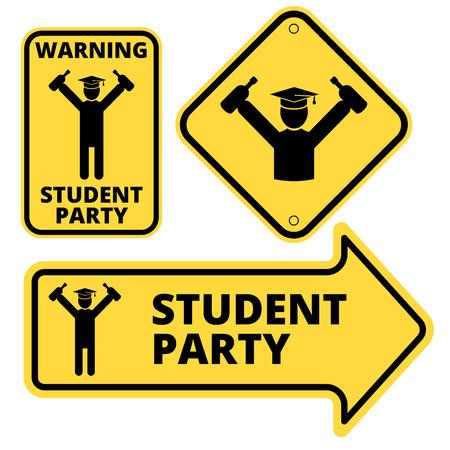 danger: Student party funny joke danger signs set. Vector EPS8 Illustration