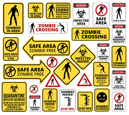 Funny Zombie Apocalypse Signs, Symbols and Billboards Vector eps8 big collection Vettoriali