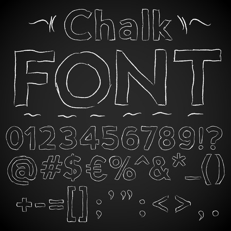 chalk drawing: Chalk thin hand font  numbers and special symbols on a blackboard background, vector illustration