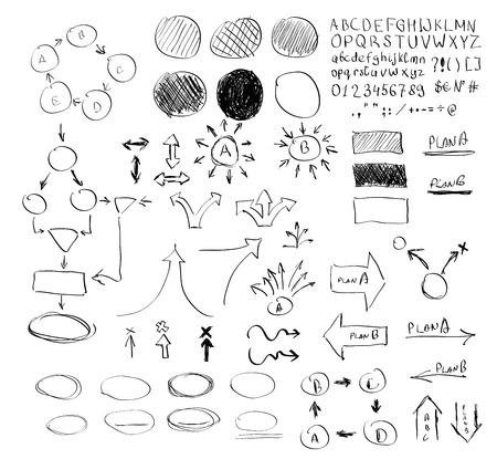 arrow circles: Pencil hand drawn infographics elements big set arrow, circles, highlighting and others Illustration