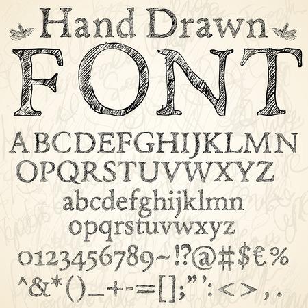 at symbol: disegnata a mano di carbone o una matita sketch lettere caratteri, numeri e simboli su uno sfondo lavagna, illustrazione vettoriale Vettoriali