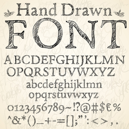 Hand drawn coal or pencil sketched font letters, numbers and symbols on a blackboard background, vector illustration