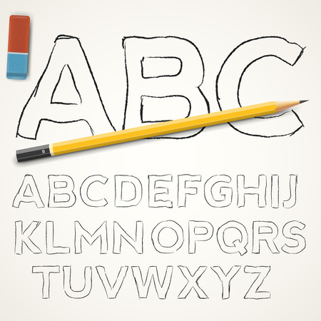 learning language: Hand drawn pencil  font caps  letters on paper background, vector illustration Illustration