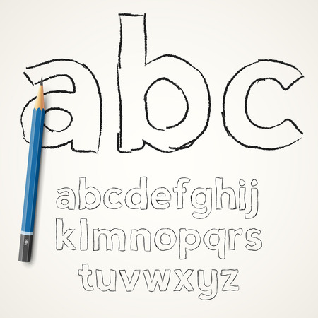 hand pencil: Hand drawn pencil  font lower case  letters on paper background, vector illustration Illustration