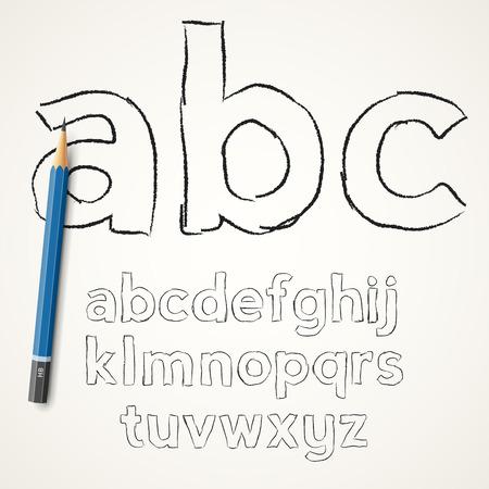 pencil case: Hand drawn pencil  font lower case  letters on paper background, vector illustration Illustration