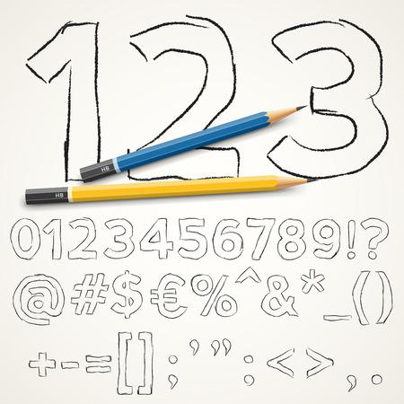nombres: Dessin�s � la main crayon police num�ros de capsules et des symboles sp�ciaux sur fond de papier, illustration vectorielle Illustration