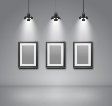 spotlight lamp: Exhibition  wall interior with blank frames illuminated with spotlights. Realistic 3d vector illustration