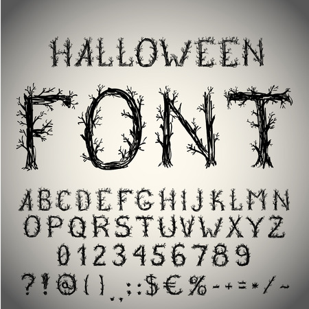 alphabet tree: Dead forest style hand drawn font, pencil stroke alphabet, grunge style with tree-like letters.