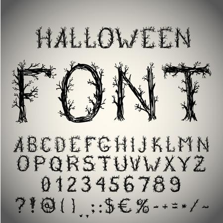 abecedario: Fuente Dead mano estilo bosque dibujado, l�piz golpe alfabeto, estilo del grunge con las letras en forma de �rbol.