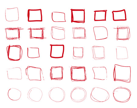 emphasis: Hand drawn red  squares and rounds set, check mark icons