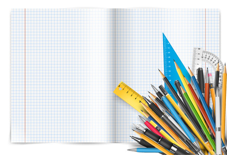 Vector back to school theme. Exercise book with math spread and twisted page, pens and pencils. Illustration
