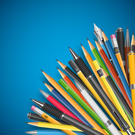 stylo: Back to school vector illustration. Mass pencils and pens composition with space for your text