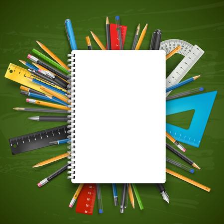 kugelschreiber: Notebook, Kugelschreiber und Bleistifte über Tafel. Zurück zu Schule-Thema Vektor-Illustration. Illustration