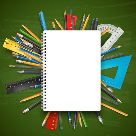 stylo: Notebook, pens and pencils over chalkboard. Back to school theme vector illustration.