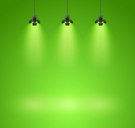 power projection: Studio spotlight green background with lamps