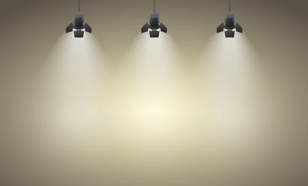 Studio spotlight brown yellow background with lamps  Stock Illustratie