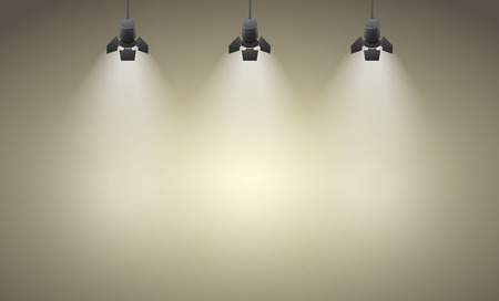 stage decoration abstract: Studio spotlight brown yellow background with lamps  Illustration