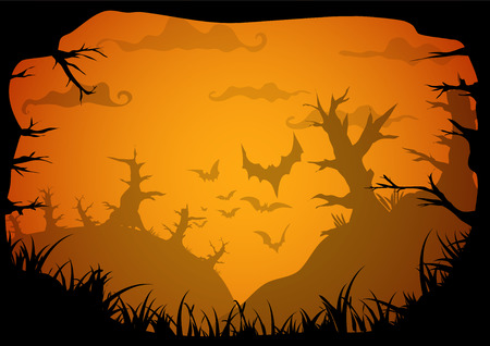 Halloween yellow spooky frame