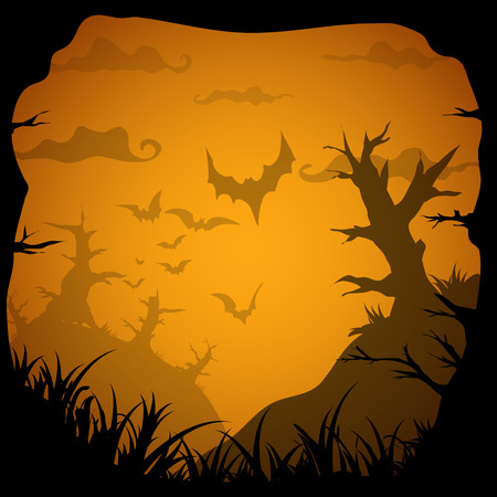 forest cartoon: Halloween yellow spooky frame