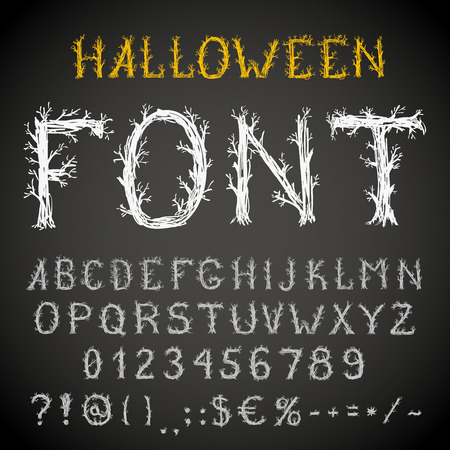 with spooky: Spooky forest style hand drawn font