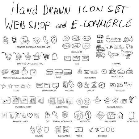 web shopping: Set of hand drawn web shopping and online e-commerce vector icons Illustration