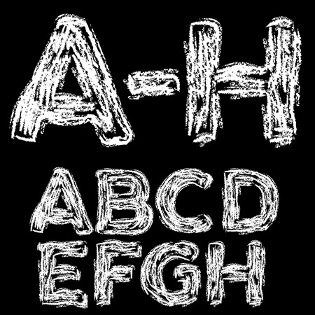 ah: Chalk hand font: A-H upper case letters on a blackboard background, vector illustration Stock Photo