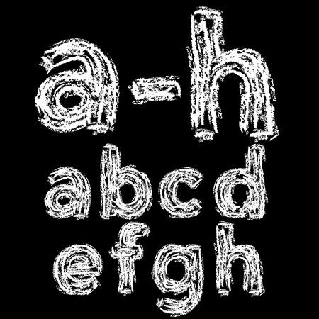 ah: Chalk hand font: a-h lower case letters on a blackboard background, vector illustration