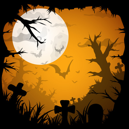 necropolis: Night Halloween  background with creepy graveyard and dead trees, vector illustration Illustration