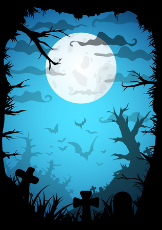 Night Halloween a4 format  poster background with creepy graveyard and dead trees, vector illustration