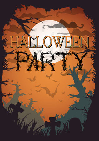 graves: Halloween Party Orange Old Movie Style Poster. Vector illustration