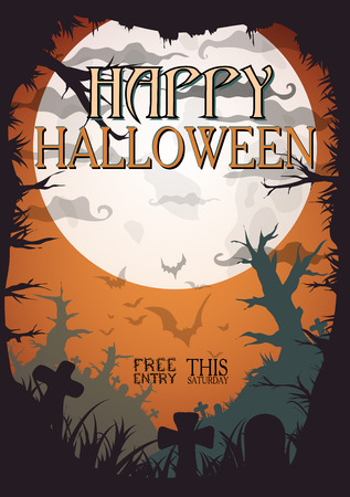 a5: Night Halloween a4 format  poster with creepy graveyard and dead trees, vector illustration