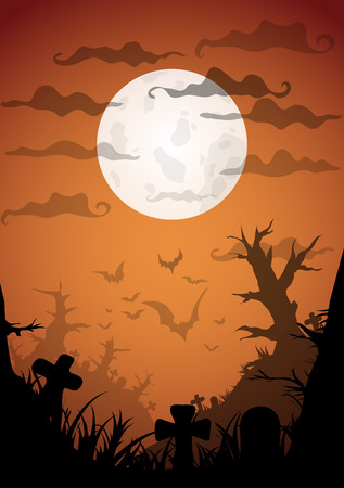 necropolis: Night Halloween a4 format  poster with creepy graveyard and dead trees, vector illustration