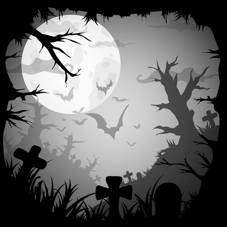 style background: Halloween Night Graveyard old style background. Vector illustration