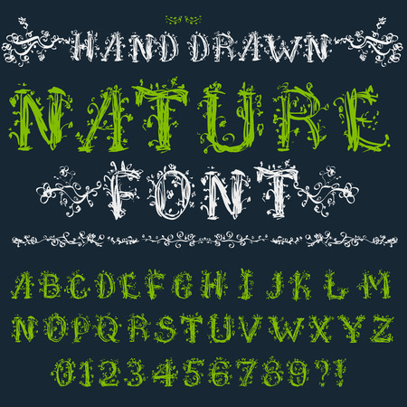 beautiful eating: Eco font: alphabet, numbers and symbols in floral hand drawn style, vector EPS8 set