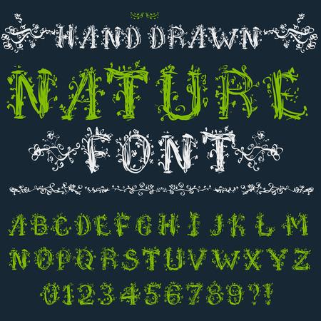 abecedario graffiti: Eco font: estilo del alfabeto, números y símbolos en mano floral drenado, conjunto de vectores EPS8
