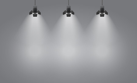 empty space: Empty  studio with lights background template, realistic vector illustration