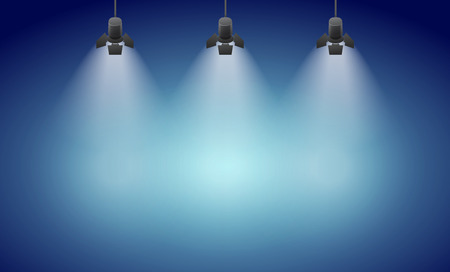 power projection: Studio spotlight blue background with lamps - vector EPS 10 illustration Illustration