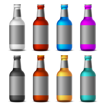 beer bottle: Colored bottles of beer template isolated on white background - realistic vector illustration