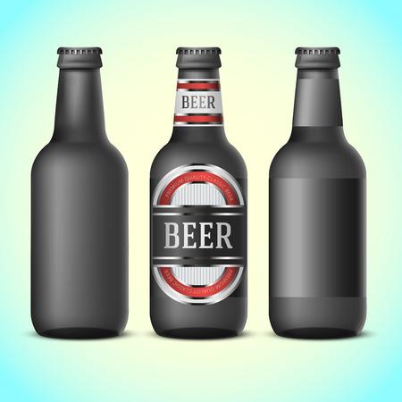 black beer: Black beer bottles template -   blank label. Vector illustration
