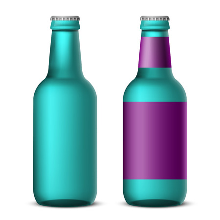 dew cap: Bottles of beer template, tall violet colored - realistic vector illustration Illustration