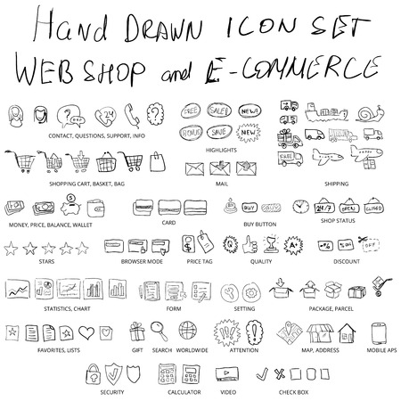 Set of hand drawn web shopping and online e-commerce vector icons Illustration