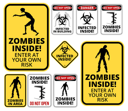 contagion: Set of sign Zombie outbrake inside building biohazard quarantine area. Vector illustration