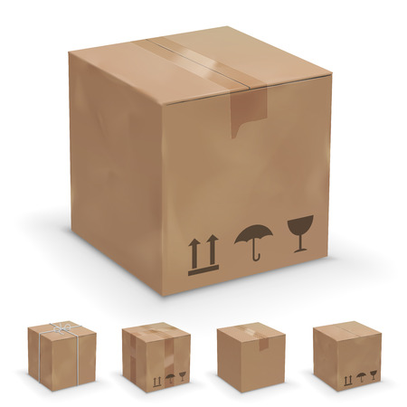 brand new: Vector set of different cardboard  boxes, old, worn and brand new
