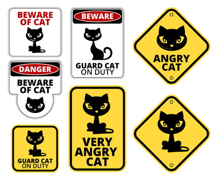 Beware Guard  Cat Signs Humorous Comic Labels and Plates Collection. Vector set