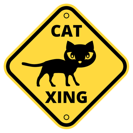 cougars: Cat crossing the street - funny joke road sign. Vector   Illustration