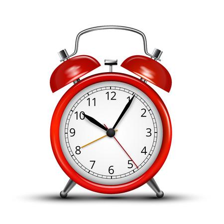 reloj: Despertadores metall rojos realistas. Ilustraci�n vectorial sobre fondo blanco