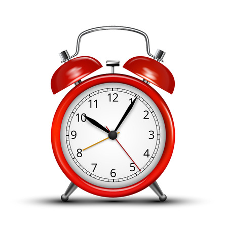 Realistic red metall alarm clocks.  Vector illustration on white background